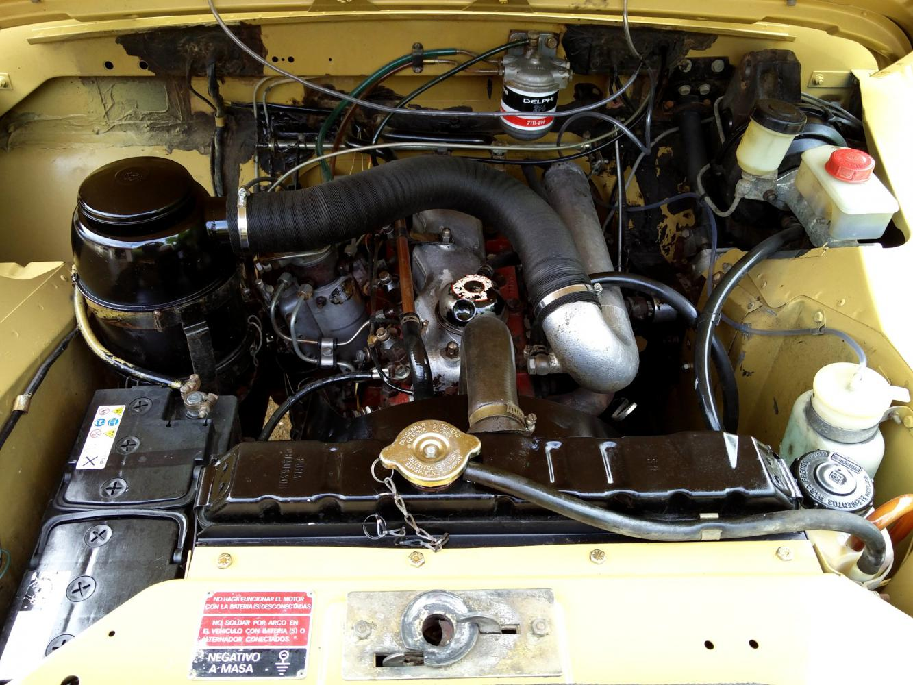 Click image for larger version  Name:1978 LR LHD Santana 88 Hardtop A Mustard Yellow engine bay.jpg Views:58 Size:196.6 KB ID:296617