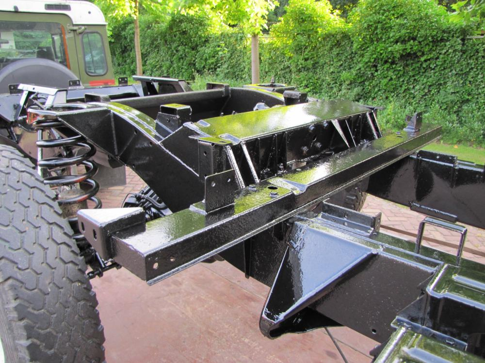 Click image for larger version  Name:1983 110 Green 4 dr Soft Top Tdi rolling chassis after coating 3.jpg Views:727 Size:144.2 KB ID:68593