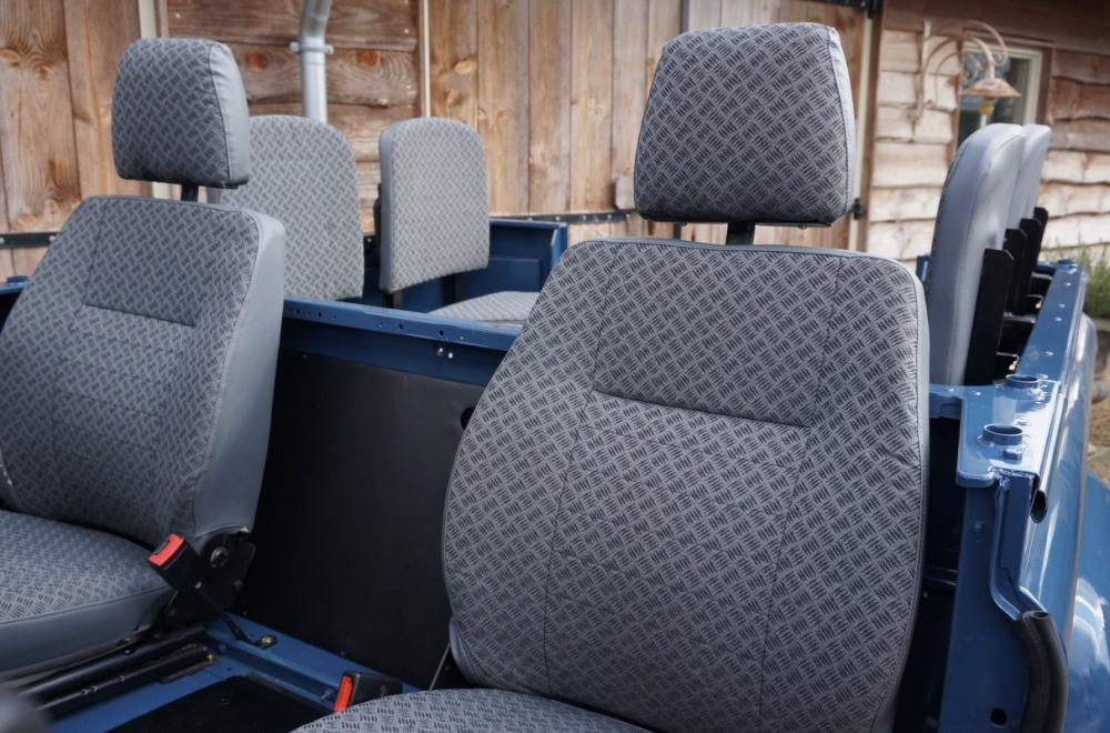 Click image for larger version  Name:1985 Defender 90 RHD 2.5 D Arles Blue building day 6  new TECHNO front seats.jpg Views:313 Size:108.2 KB ID:90585