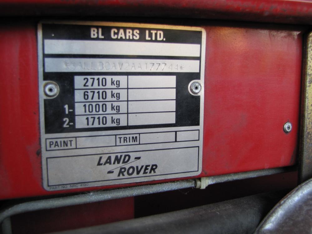 Click image for larger version  Name:Landrover 109 Stage 1 V8 vin plate.jpg Views:338 Size:71.9 KB ID:73079